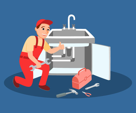 Plumber Master Wrench in Hand Fixing Kitchen Faucet Vector Illustration. Plumbing instrument Equipment. Professional Plumbing Company Clog Leakage Repair. Sink Pipeline Installation