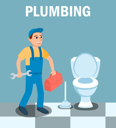 Happy Male Plumber Cartoon Character with Wrench Tool at Bathroom Vector Illustration. Plunger Spanner Repair Instrument Toolbox. Plumbing Expert Professional Help at Home Concept.