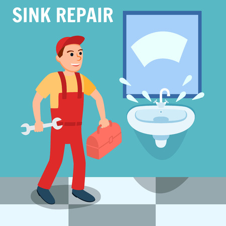 Sink Repair Banner. Plumber in Uniform Overall with Toolbox Wrench Instrument in Bathroom Vector Illustration. Sink Installing Renovation Kitchen Room Faucet Leakage Problem Repair Service