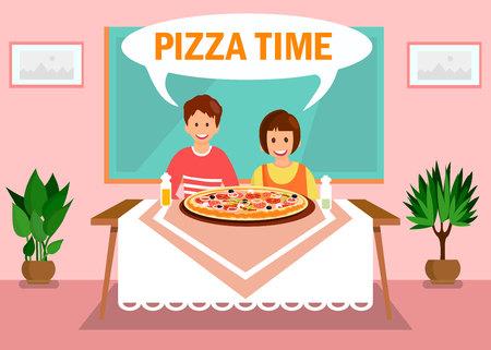 Schwester, Bruder beim Abendessen zu Hause Illustration. Pizza Time Orange Schriftzug in White Speech Cloud. Cartoon-Geschwister sitzen am Tisch im Zimmer. Tafel und Topfpflanzen im Klassenzimmer