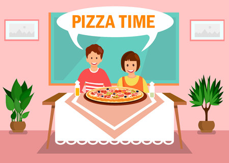 Sister, Brother Having Dinner at Home Illustration. Pizza Time Orange Lettering in White Speech Cloud. Cartoon Siblings Sitting at Table in Room. Chalkboard and Potted Plants in Classroom