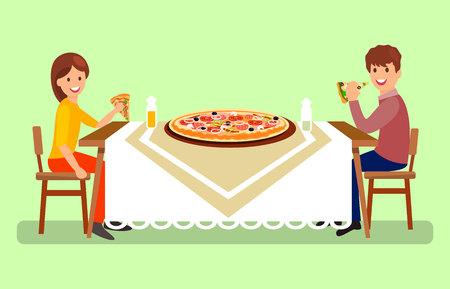 Verheiratetes Paar beim Abendessen-Vektor-Illustration. Mann und Frau sitzen am Restauranttisch Seitenansicht. Cartoon-Freund und Freundin essen riesige Pizza. Ehefrau und Ehemann in Pizzeria Vektorgrafik