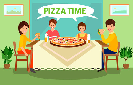 Family Having Dinner at Home Vector Illustration. Pizza Time Green Lettering in White Speech Cloud. Mother, Father, Son and Daughter Having Conversation. Cartoon Parents with Children Eating Meal Ilustração