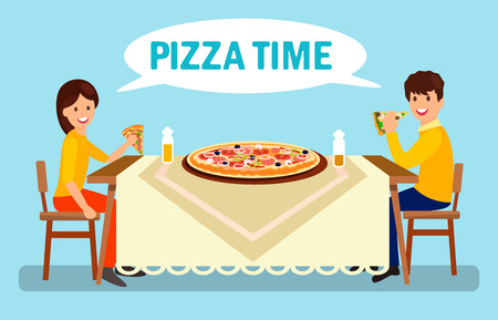 Couple Having Dinner in Pizzeria Flat Illustration. Man and Woman Eating Huge Pizza. Cartoon Boyfriend and Girlfriend Talking in Restaurant. Large Pepperoni, Margarita, Romana, Frutti