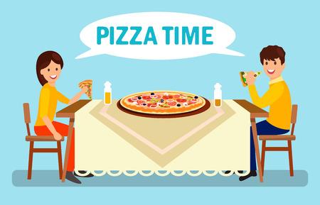 Pareja cenando en la ilustración plana de pizzería. Hombre y mujer comiendo pizza enorme. Novio y novia de dibujos animados hablando en restaurante. Pepperoni grande, Margarita, Romana, Frutti