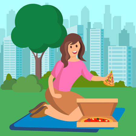 Woman Eating Pizza on Picnic Vector Illustration. Female Flat Character Offering Stagioni Slice. Pepperoni in Open Cardboard Box. Big Modern City Park. Cartoon Girl Having Lunch on Nature
