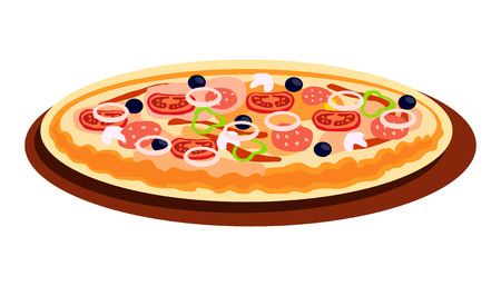 Pizza with Different Flavours Cartoon Illustration. Pastry with Meat and Vegetables on Wooden Board. Chopped Salami, Tomato, Onions and Pepper. Traditional Italian Dinner Isolated Design Element Vettoriali