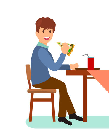 Man Eating Pizza Slice Flat Vector Illustration. Lonely Guy Having Dinner in Restaurant. Office Worker Cartoon Character on Lunch Break in Cafe. Cafeteria, Pizzeria Customer Sitting at Table