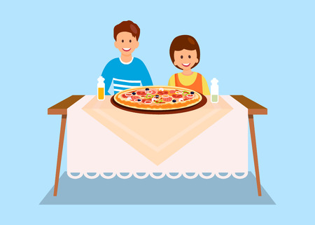 Sister and Brother Eating Dinner Flat Illustration. Cartoon Siblings Posing for Photo in Pizzeria. Friends Ordering Large Pepperoni, Margarita. Children Sitting at Cafeteria Table Front View Ilustração