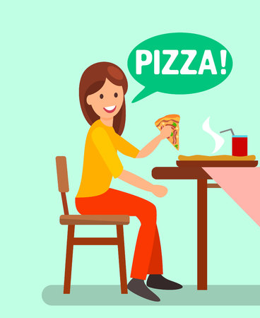 Girl Having Dinner in Pizzeria Flat Illustration. Woman Eating Pizza Slice and Drinking Fizzy Beverage. Text in Green Speech Bubble. Hot Tasty Italian Dish on Restaurant Table. Satisfied Client Иллюстрация