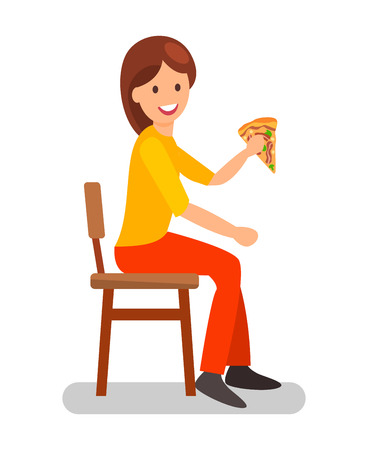 Woman Eating Pizza Slice Flat Vector Illustration. Girl Having Dinner in Restaurant. Female Cartoon Character on Lunch Break in Cafe. Cafeteria, Pizzeria Customer Isolated Design Element Ilustração