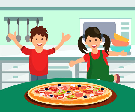 Children Having Pizza for Lunch Flat Illustration. Cheerful Girl in Green Overall with Pigtails Flat Character. Happy Toddlers in Home Kitchen. Multicolor Plates, Bowls and Cutlery on Table