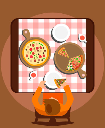 Man Eating Meal Alone Flat Vector Illustration. Dishes and Plates on Pink Tablecloth Top View. Cartoon Bachelor Having Pizza for Dinner. Lonely Male Flat Character Sitting at Pizzeria Table