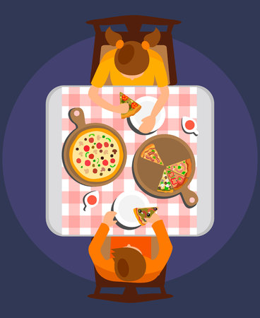 Man and Woman Eating Meal Flat Vector Illustration. Couple on Romantic Date in Restaurant. Friends Cartoon Characters at Lunch Break in Pizzeria. Pepperoni Pizza on Wooden Board Top View