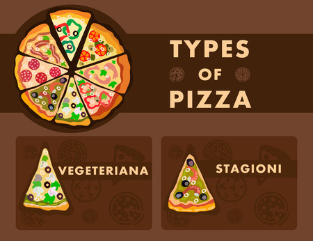 Different Pizza Types Poster Cartoon Template. Vegetariana and Stagioni Slices Collage. Vegetables, Meat and Seafood Flavours. Takeaway Food Ordering Website. Four Season, Vegetarian Pizza