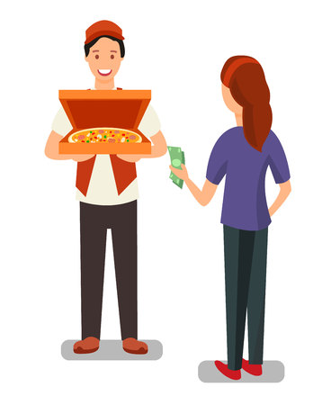 Pizza Delivery Man and Customer Flat Characters. Woman Buying Cooked Food in Bakery. Customer Paying Cash for Fast Food. Helpful Seller and Satisfied Buyer. Girl Choosing Pizza for Dinner
