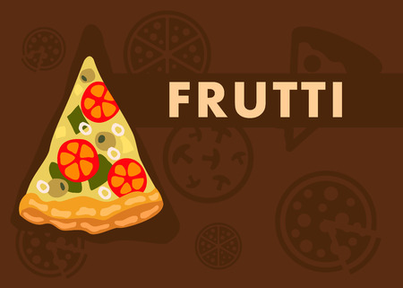 Frutti Pizza Web Banner Cartoon Vector Template. Vegetarian Pizza Slice on Brown Background. Cartoon Menu Page for Pizzeria Website. Chopped Vegetables with Cheese on Dough Flat Illustration 일러스트