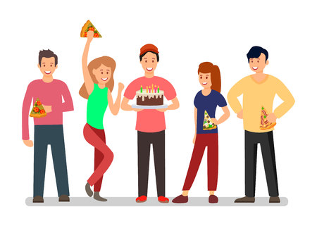 People at Surprise B-day Party Vector Illustration. Students Characters Celebrating Birthday. Cartoon Teenagers Greeting Friend. Classmates Having Fun Together. Men and Women Eating Pizza, Cake