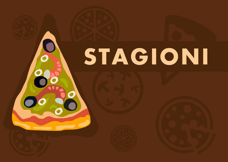 Stagioni Pizza Web Banner Vector Cartoon Template. Four Seasons Pizza Slice on Brown Background. World Famous Italian Dish. Cut Olives and Shrimps. Seafood with Sauce. Pizzeria Menu Page Illustration