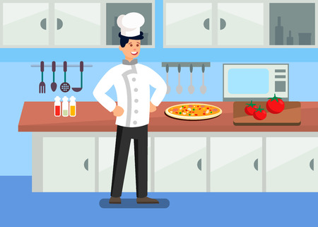 Chef in Professional Kitchen Cartoon Illustration. Cooking TV Show. Pizzaiolo Preparing Dishes. Raw Tomatoes on Cutting Board. Confident Restaurant Worker Wearing Uniform Flat Character