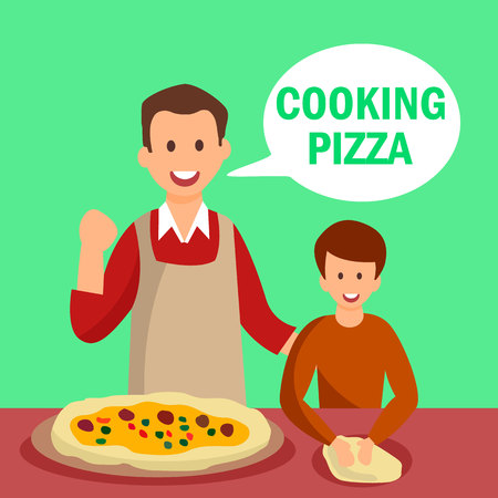 Dad and Son Baking Pastry Flat Vector Characters. Cooking Pizza Green Text in Speech Bubble. Father and Child Having Conversation in Kitchen. Flat Characters Taking Culinary Lessons
