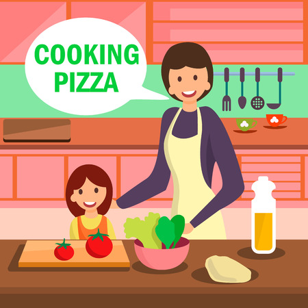 Mother and Daughter Cooking Pizza Illustration. Mom Teaching Kid to Make Salad. Female Flat Character Having Conversation in Kitchen. Cheerful Little Girl Cutting Vegetables for Dinner
