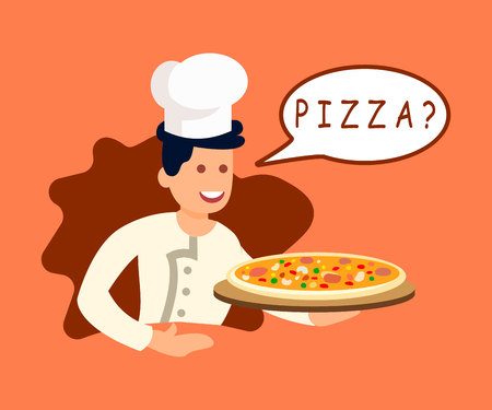 Chef Offering Pizza to Client Vector Illustration. Phrase in Speech Bubble. Cartoon Pizzaiolo Asking Question. Young Cook Holding Classic Italian Pizza. Fresh Cooked Takeaway Fast Food
