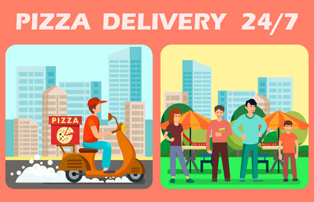 Twenty Four Hours Pizza Delivery Vector Web Banner. Fast and Free Courier Service Poster Template. Delivery Man Hurrying Up to Customers. Clients in Park Waiting for Takeaway Food Order Illustration