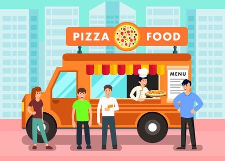 Camion dell'alimento nell'illustrazione moderna di vettore della città. Pizzaiolo nel Ristorante Mobile che offre Pizza. Persone in coda che ordinano cibo da asporto. Personaggi dei cartoni animati piatti maschili e femminili al Mobile Cafe