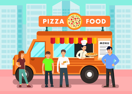 Food Truck in Modern City Vector Illustration. Pizzaiolo in Mobile Restaurant Offering Pizza. People in Queue Ordering Takeaway Food. Male, Female Flat Cartoon Characters at Mobile Cafe