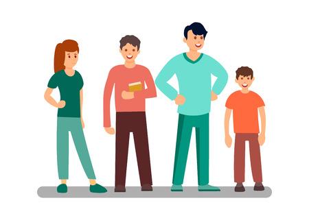 Personajes de dibujos animados planos de estudiantes masculinos y femeninos. Personas de diferentes edades. Libro de explotación de chico. Padre con hijo conversando. Hombres y mujeres jóvenes. Ilustración de Vector de miembros de la familia