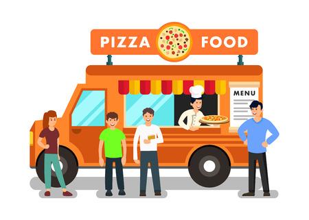 Illustrazione mobile di vettore del fumetto del ristorante. Pizzaiolo italiano in Food Truck. Persone che acquistano cibo in Mobile Cafe. Clienti allegri che aspettano l'ordine della pizza Personaggi piatti dei clienti vicino a Orange Van