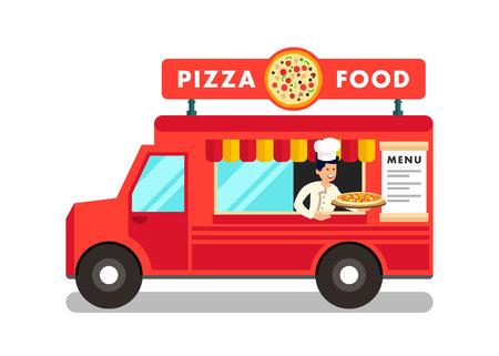 Camion di cibo all'illustrazione del festival del cibo di strada. Chef Cartoon Offrendo Pizza. Pizzaiolo in divisa professionale. Personaggio piatto in un furgone rosso che vende piatti. Ristorante Mobile su Ruote Vettoriali