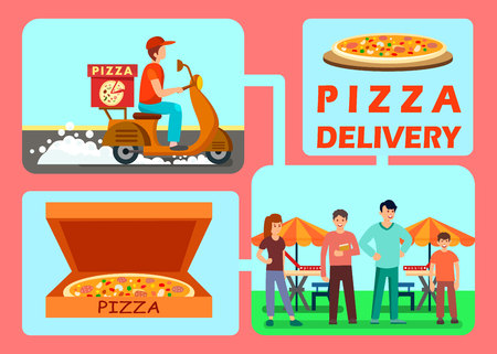 Food Delivery Process Web Banner Vector Template. Pizza Ordering Steps Collage. Fast Food Restaurant Courier Driving Scooter Illustration. Customers Waiting for Delivery Man Flat Characters