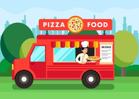 Chef in Pizza Food Truck Cartoon illustrazione. Cuoco Che Tiene Piatto Italiano Tradizionale. Festa del cibo di strada. Caffè mobile nel parco. Personale della pizzeria al servizio dei clienti. Carattere vettoriale piatto in Van