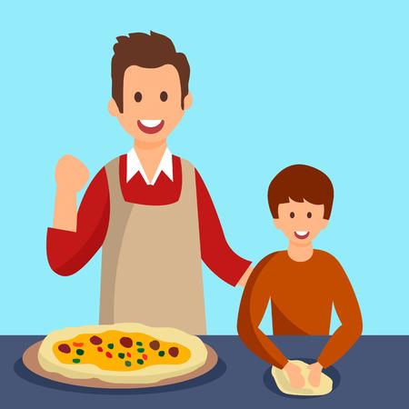 Padre e hijo cocinando cena ilustración vectorial. Papá e hijo preparando el almuerzo para la madre. Padre con niños personajes planos hornear pasteles juntos. Niño de dibujos animados amasando la masa. Hombre, actuación, ganador, gesto Ilustración de vector