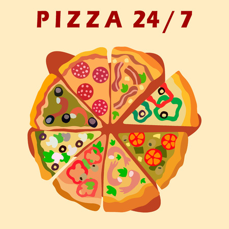Twenty Four Hours Pizzeria Vector Promo Poster. Assorti Pizza Special Offers for Clients. Around The Clock Takeout Food Restaurant. Slices with Veggies, Meat, Seafood and Mushrooms Composition