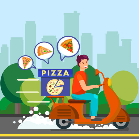 Courier Delivering Dinner to Suburbs Illustration. Delivery Man Driving Scooter on Road. Different Types of Pizza in Box. Courier Delivering Peperoni, Stagioni and Margarita. Trees, Bushes