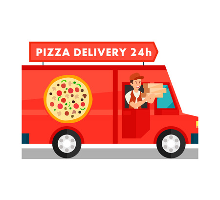 Courier in Delivery Truck Cartoon Illustration. Twenty Four Hours Food Delivery Service. Man in Red Van Holding Cardboard Pizza Boxes. Around The Clock Restaurant Worker Flat Vector Character Illustration