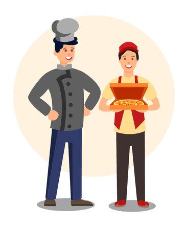 Lavoratori del ristorante in uniformi personaggi piatti. Illustrazione allegra di vettore del personale della pizzeria. Corriere che trasporta la scatola della pizza. Cuoco sicuro. Elemento di design isolato dei dipendenti della caffetteria Vettoriali