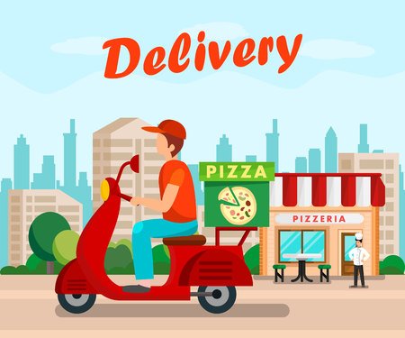Courier Driving Motorbike Flat Cartoon Poster. Young Delivery Man on Scooter Vector Illustration. Pizzaiolo Waiting for Pizza Ingredients Delivery. Pizzeria Restaurant, Cafe Building in City