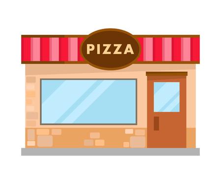 Pizzeria nowoczesne cegły budowlane płaskie ilustracja. Kafeteria, Widok z Przodu Restauracji. Rodzinna kawiarnia w mieście, Metropolis. Puste małe bistro. Usługi kulinarne i kulinarne. Tradycyjna kuchnia włoska