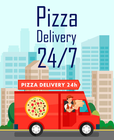 Twenty Four Hours Pizza Delivery Vector Poster. Around The Clock Restaurant Flyer. Man in Van Delivering Pizzeria Orders. Cartoon Character Holding Cardboard Pizza Boxes Flat Illustration Illustration