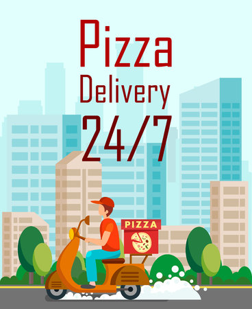Twenty Four Hours Pizza Delivery Cartoon Flyer. Courier on Way. Delivery Man Driving Scooter in Big City. Around The Clock Pizzeria, Restaurant Vector Brochure. Cafe Promotional Poster