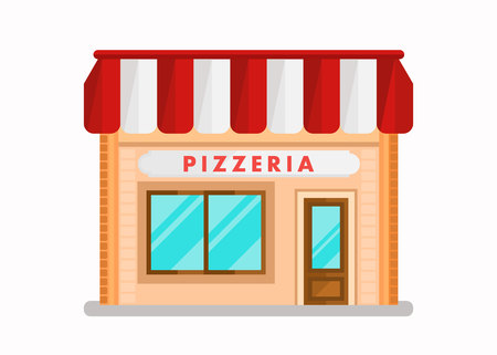 Pizzeria Modern Building Flat Vector Illustration. Cartoon Cafe Front View. Bistro with White and Red Striped Awning. Cafeteria with Big Windows. Family Italian Restaurant Facade, Exterior Illustration