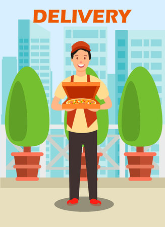 Courier Carrying Pizza Box Vector Illustration. Delivery Service Cartoon Poster, Brochure with Lettering. Cafe Worker Standing at Outdoor Terrace. Teenage Delivery Man Flat Character Illustration