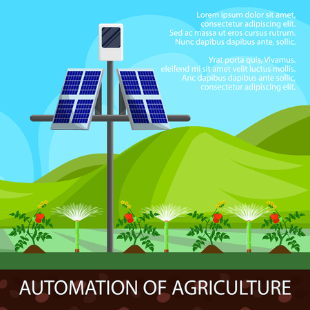 Illustration Cartoon Automation of Agriculture. Modern Technologies and Automation Agricultural Processes. Use on Field Solar Panels and Irrigation Systems for Crop Growth, Cartoon.