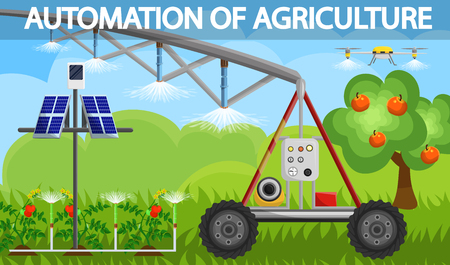 Vector Illustration Automation of Agriculture. Application in Agronomy Automatic Design for Air Humidification and Drip Irrigation Soil Irrigation. Natural Energy from Sun, Cartoon.