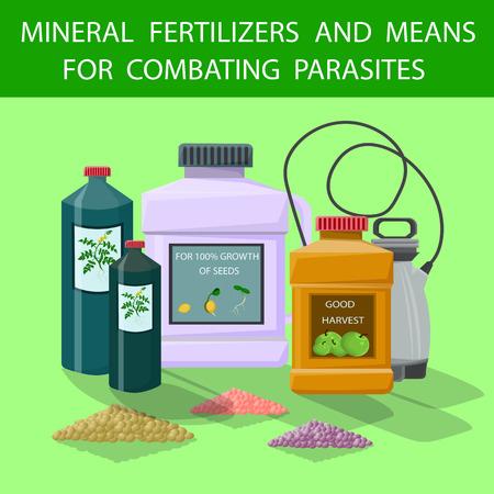 Flache Mineraldünger und Mittel zur Bekämpfung von Parasiten. Vektor-Illustration Farbiger Hintergrund. Kunststoffbehälter Volldünger verbessern das Pflanzenwachstum. Düngergranulat zur Ertragssteigerung.