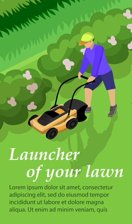 Vertical Banner is Written Launcher of Your Lawn. Guy Mows Grass Lawn with Lawn Mower. Vector Illustration. Recycling Mowed Grass. Use Mechanical Lawnmower when Mowing Areas with Bumps.